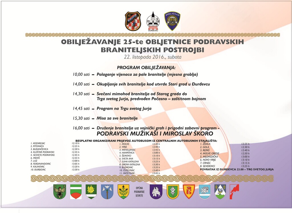 LokalnaHrvatska.hr Kalinovac Pozivamo Vas na obiljezavanje 25. obljetnice podravskih braniteljskih postrojbi